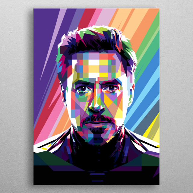 Pop Art Style in WPAP of Robert John Downey Jr. an American actor. Making his acting debut at the age of five. metal poster