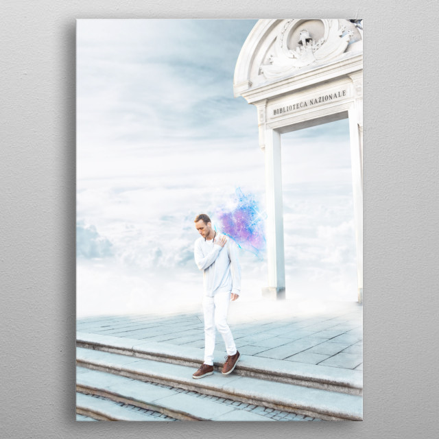 Fantasy photo manipulation of a man crossing the steps out of heaven gates. A magical dreamy scene with beautiful white clouds in the sky metal poster