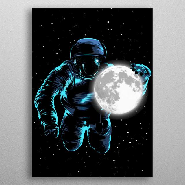 Astronaut Moon metal poster