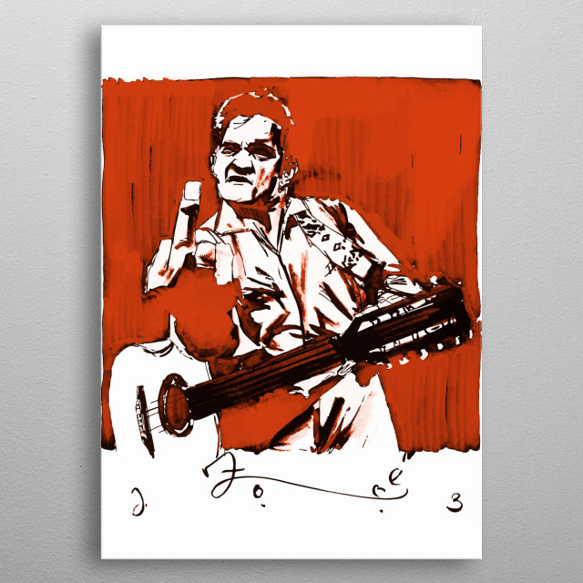 Johnny cash with middle finger design just for country music Lovers. metal poster