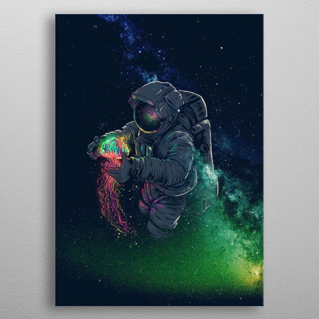 Empty Space ≈ Cosmic Collection • A young spaceman ready for his first mission to take him on an out of this world adventure.  metal poster
