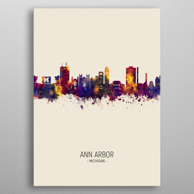 Watercolor art print of the skyline of Ann Arbor, Michigan metal poster