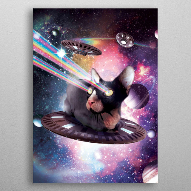 Pick up this funny hairless astro cat design. This universe hairless lazer cat on UFO design makes a perfect gift so pick one up today.  metal poster