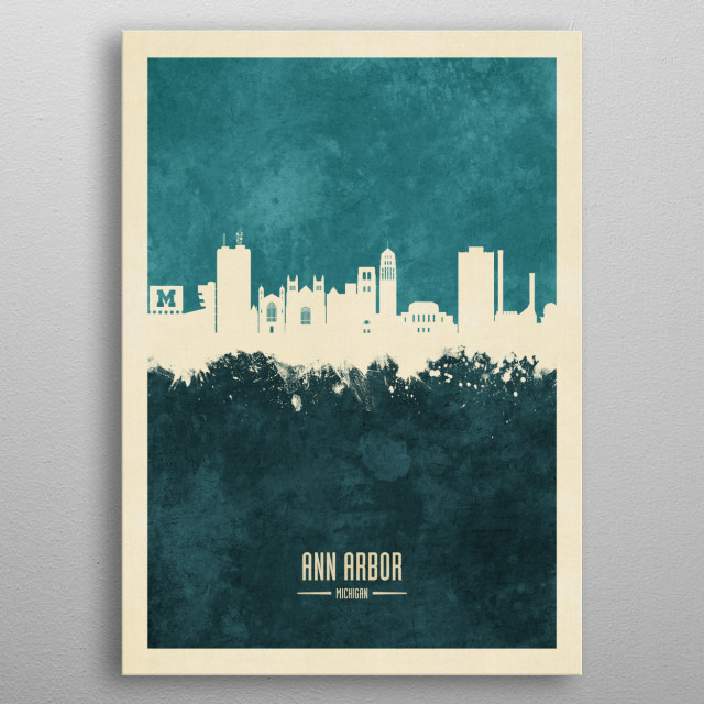 Watercolor art print of the skyline of Ann Arbor, Michigan metal poster