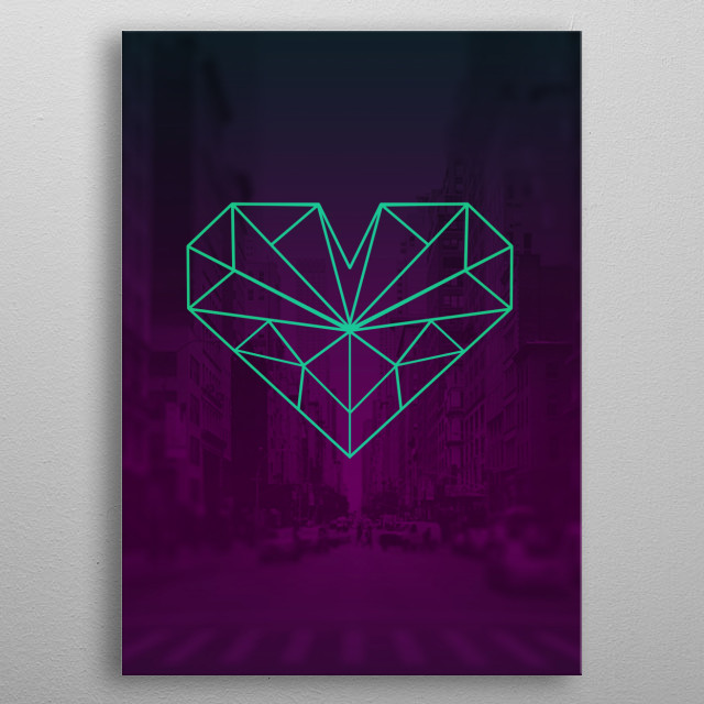 A modern polygonal heart that shows your love for everything technological, pop culture, and everything in between. metal poster