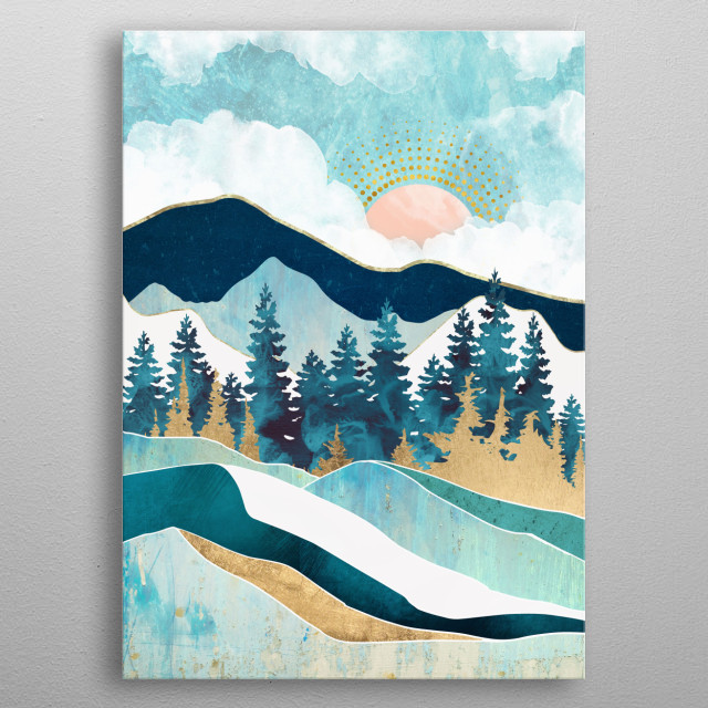 Abstract landscape of a summer forest with teal, blue and gold metal poster