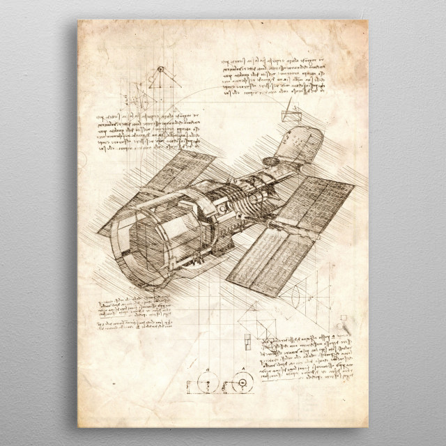 Sketch of the Hubble space telescope insides metal poster
