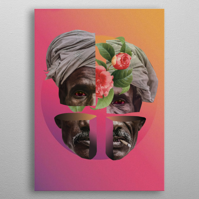 This artwork about smoking old man and divided his face for four parts. The background has a gradient colors pink and orange.  metal poster