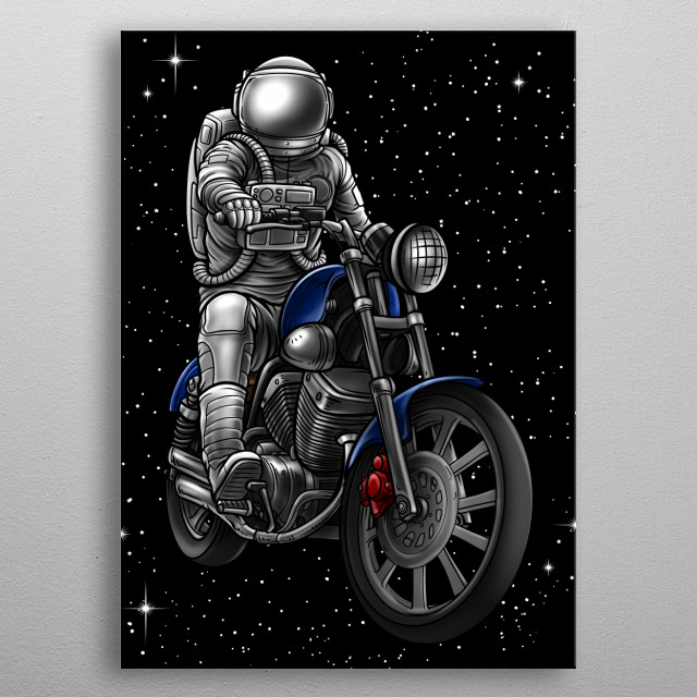 This great spaceman motif from another galaxy. It shows an astronaut on a motorcycle. Ideal gift for every space enthusiast. metal poster