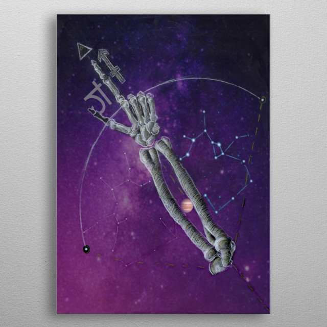The horoscope, Saggitarius, featuring dark symbols, skeletal bones, and planets.  metal poster