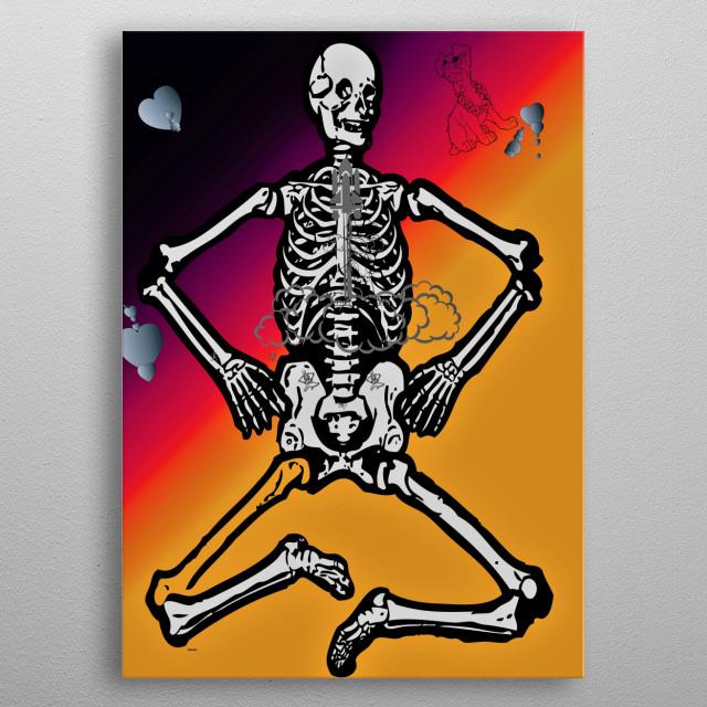 love is made up of skull akward  metal poster