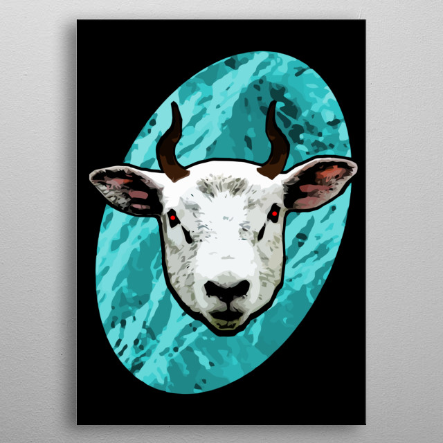 Evil Sheep Gaming poster fully equipped with piercing red eyes and sharp curved horns. metal poster