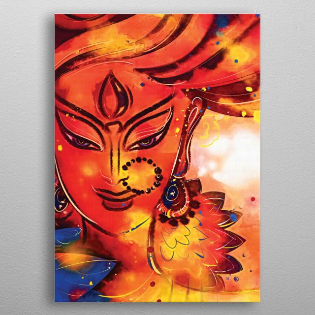 The Goddess Durga Abstract Poster Print Metal Posters