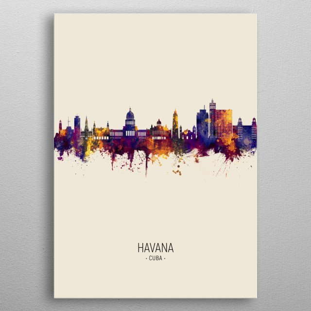 Watercolor art print of the skyline of Havana, Cuba metal poster