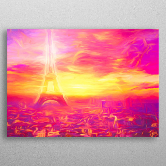 You can see the Eifeltower in a beautiful Pink Paris metal poster