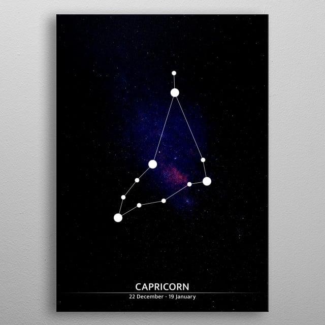 A minimalist illustration of a zodiac sign. metal poster