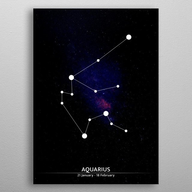 A minimalist illustration of a zodiac sign. metal poster