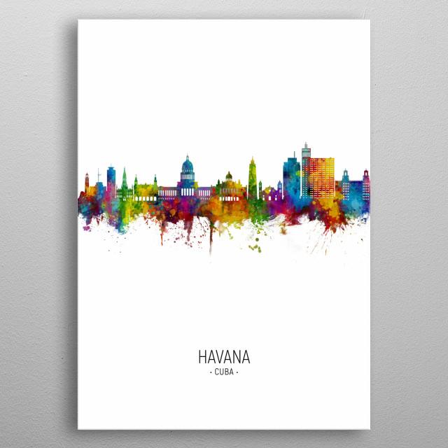 Watercolor art print of the skyline of Havana, Cuba metal poster