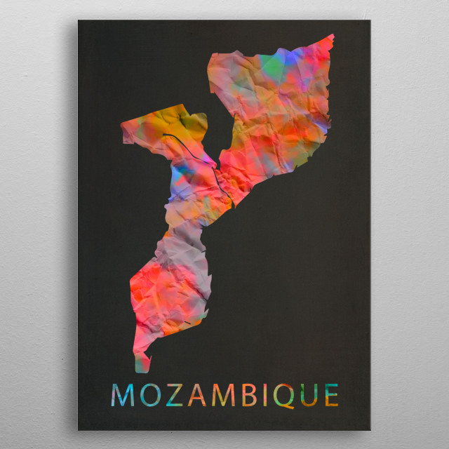 Mozambique Tie Dye Map Country metal poster