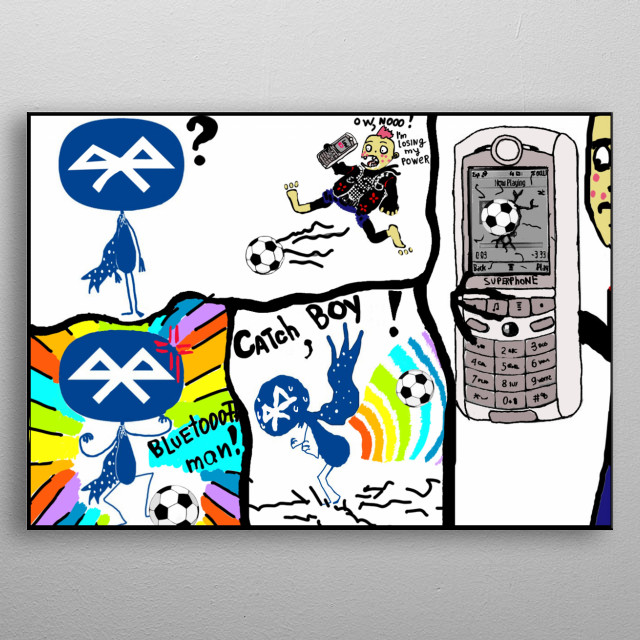 It's  story about a man with Bluetooth power : ) metal poster