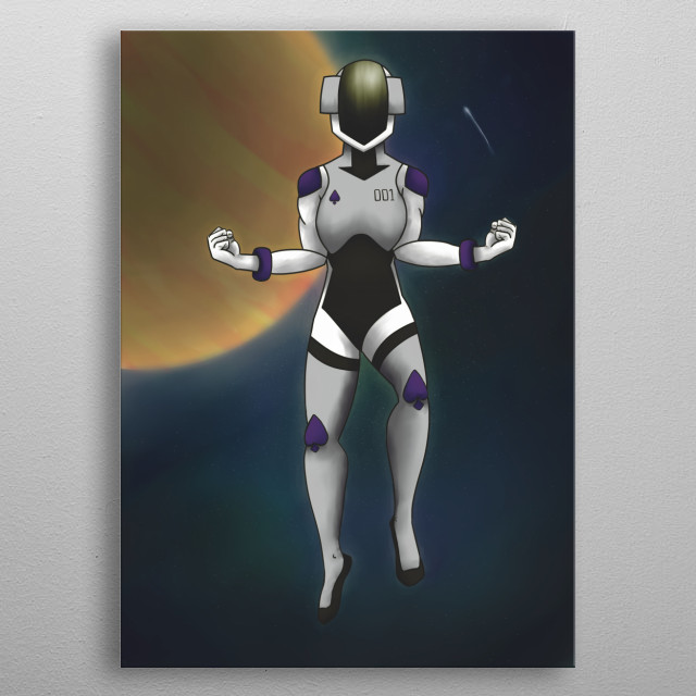Digital illustration of a futuristic astronaut in space. metal poster