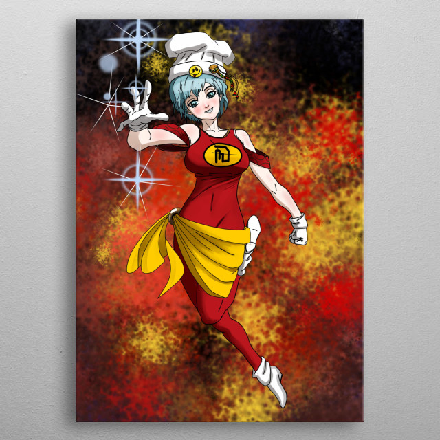 MISS DINER was blessed by the ancient Gods with the power to create all kinds of food from nothing. She uses her power to feed the poor.   metal poster