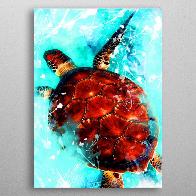 turtle animal art metal poster