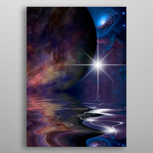 Alien exo planet in vivid space metal poster