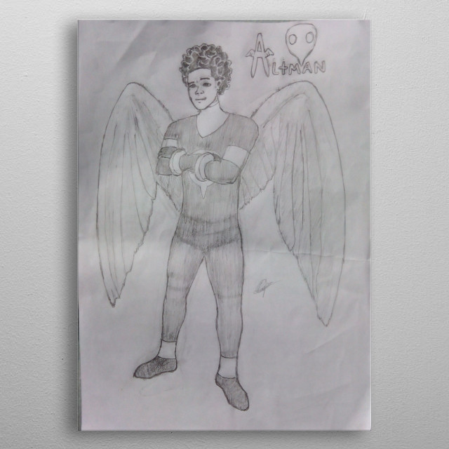 Illustration of a flying superhero, inspired by angel in the x men movie. metal poster