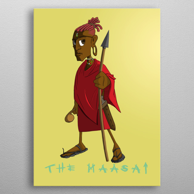 Illustration of a warrior in the Maasai community. A hero in & of the community. metal poster