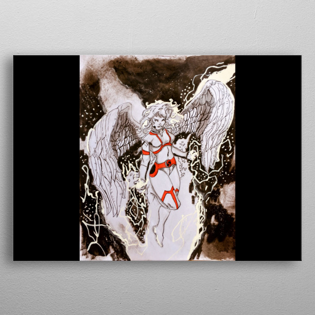 A Seraphim angel that can summon lightning bolts from the sky or project them from their hands. metal poster