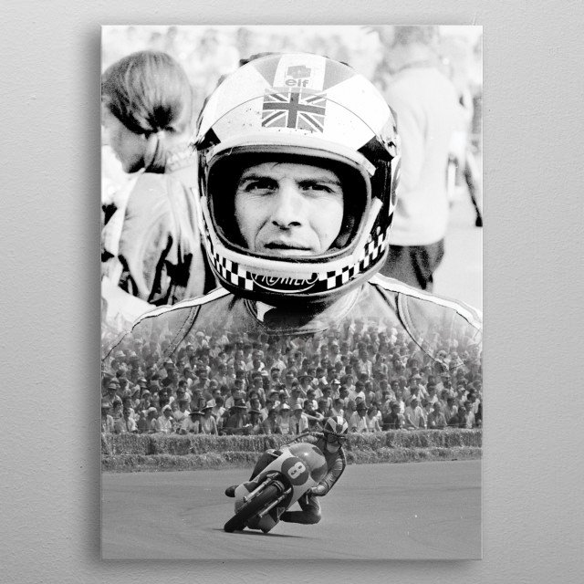 Graphic of one of the greatest motorcycle racers in history. metal poster