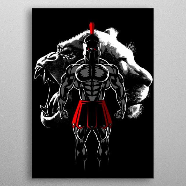 Gladiator Gorilla Lion metal poster