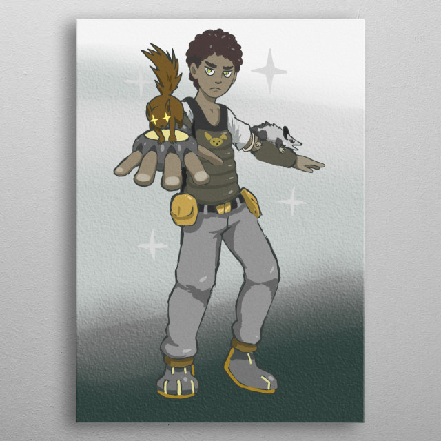 A young hero whose power is to fight alongside the animals he rescues. metal poster