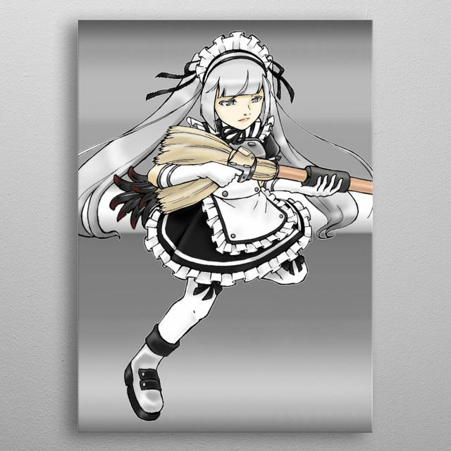 An illustration of a superhero in maid suit, using a broom gun. metal poster