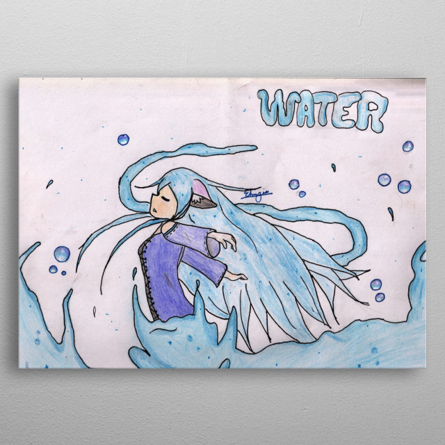 Illustration of a girl with the power to control water metal poster