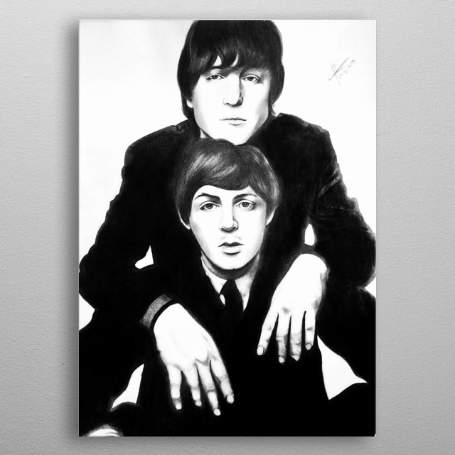 A2 Pencil & Charcoal sketch of John Lennon and Paul McCartney. Original sketch bought by Rumours Rock City SA.  metal poster