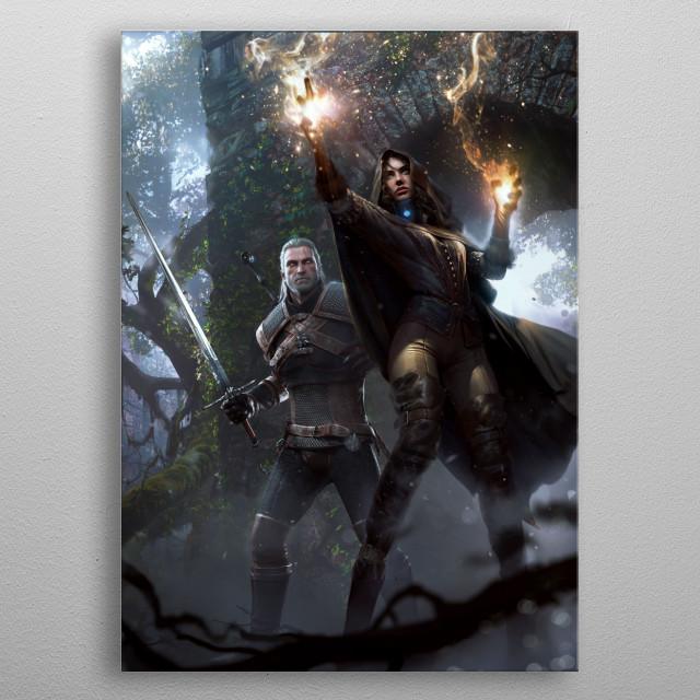 Yennefer and Geralt metal poster