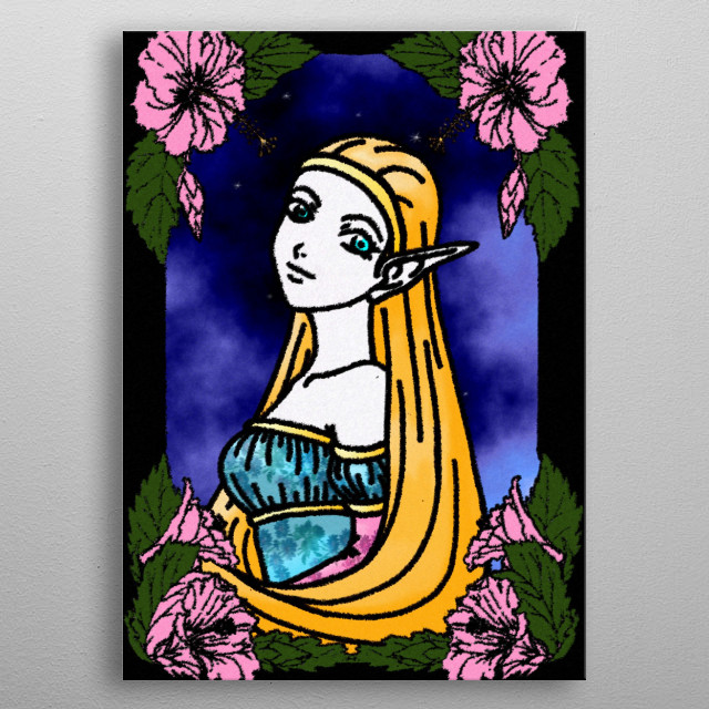 The Elf Mage will bring the light of the forest to clean the world from corruption. metal poster