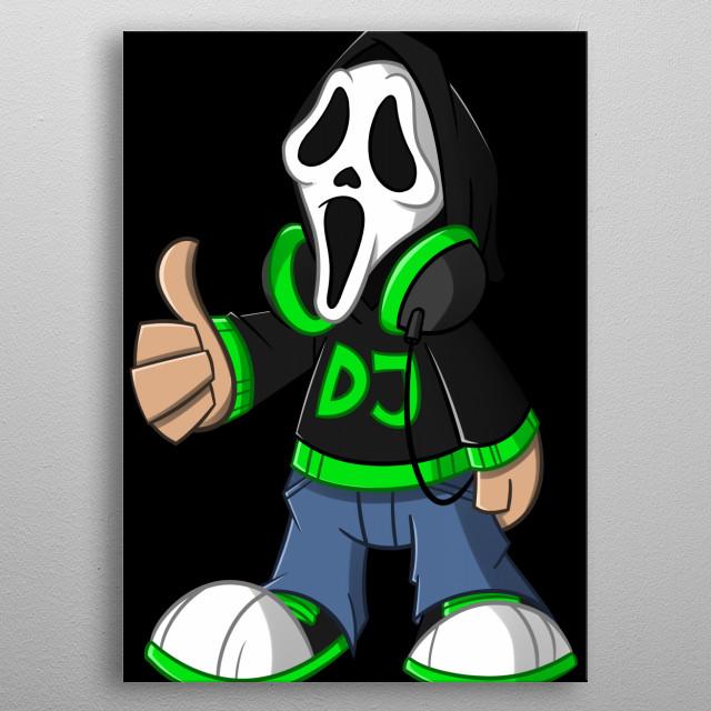 Maskottchen von DJDaScream mit Schwarzen Hintergrund metal poster