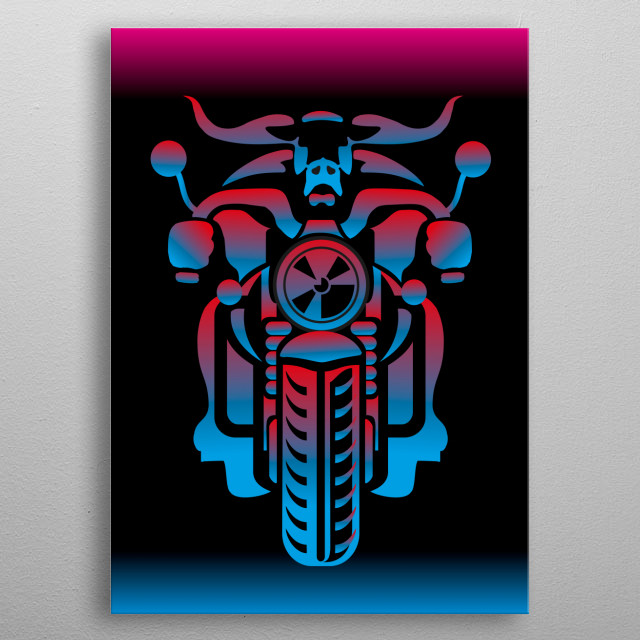 illustration of stylized bull on motorcycle metal poster