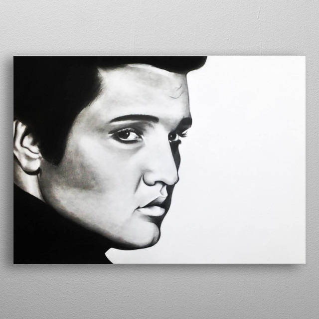 A hand drawn A2 sketch of Elvis Presley of charcoal & pencil. Original artwork bought by Rumours Rock City SA.   metal poster