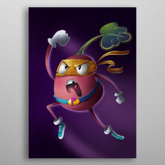 With great power comes great responsibility! Unleash the power of your inner tuber with this amazing print of a flying potato.  metal poster