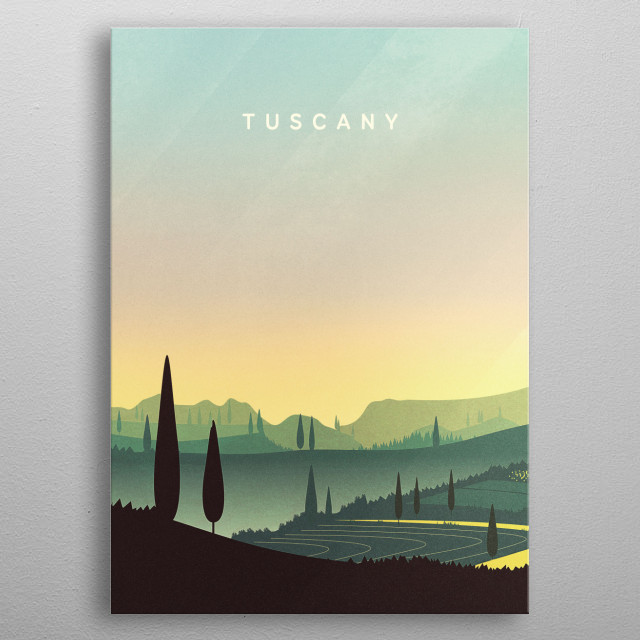 This vintage travel poster goes out to all Tuscany / Toscana and Italy / Italia lovers! Have a relaxing day between hills and fields! metal poster