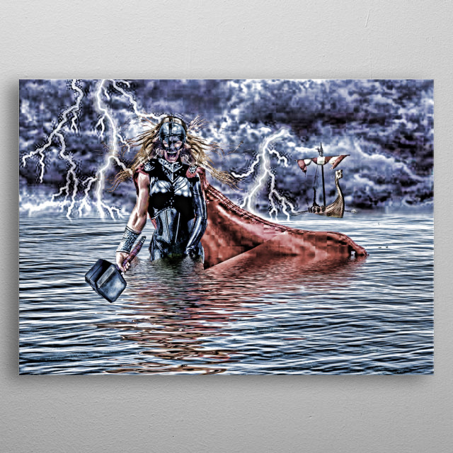 Thor wade ashore to confront the enemies of Asgard. metal poster