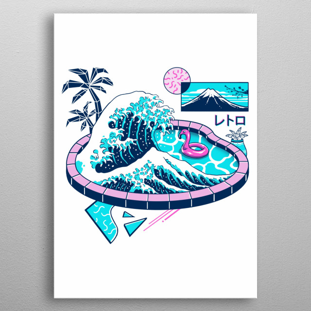 The Great Wave in vapor wave pool aesthetics. metal poster