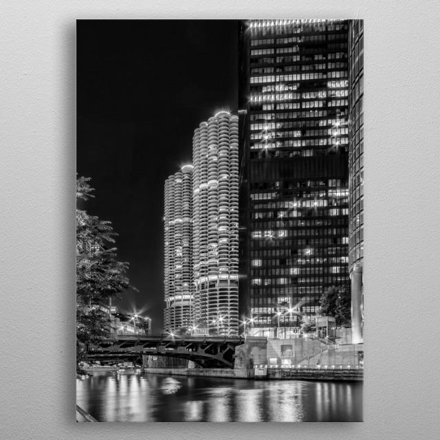Lovely Chicago River nightscape taken from Chicago Riverwalk.  metal poster
