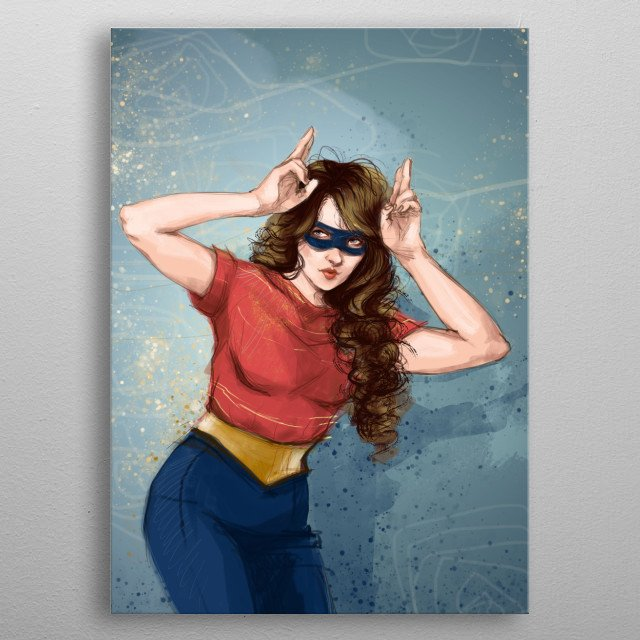 Make a pose, we're all superheroes. Funny and cute, mixt between Wander Woman and Batgirl metal poster