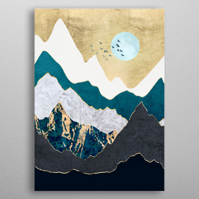 Abstract landscape with birds, gold, mountains and blue metal poster