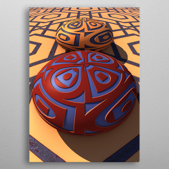 A three-dimensional fractal rendering featuring two stones with surface patterns against a patterned background. metal poster